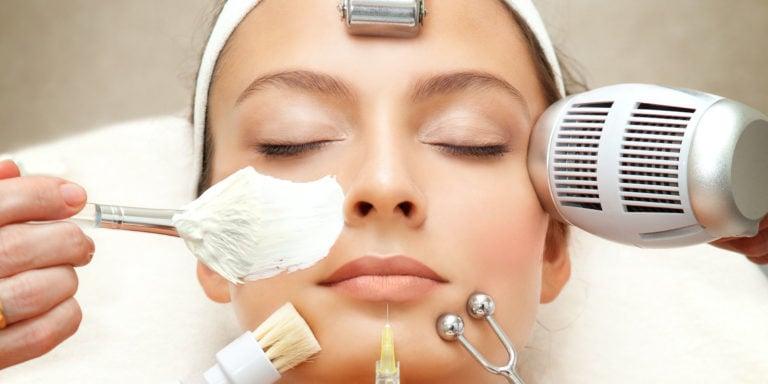 Spa Series: Young Beautiful Woman Having Various Facial Treatment.